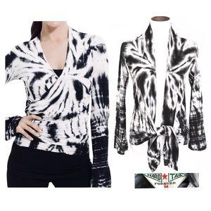 Hard tail black/white wrap cardigan